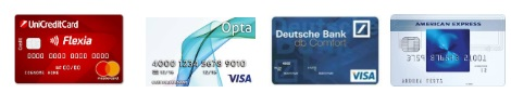 immagini carte di credito flexia, opta, db comfort, blu american express