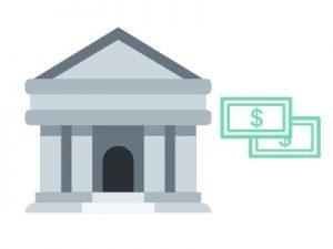 disegno di una banca e banconote