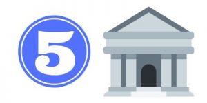 disegno di una banca e del numero cinque