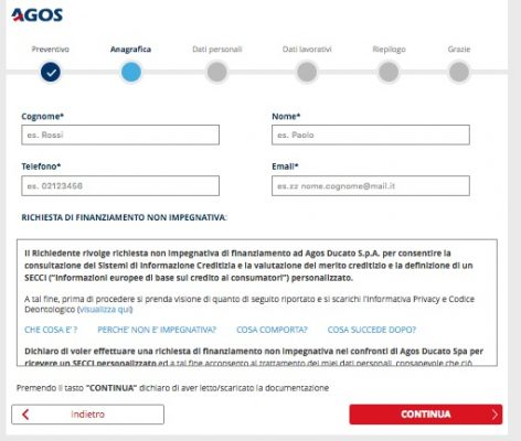 form inserimento dati personali rataweb per richiesta preventivo ufficiale