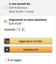 riquadro modalità pagamento amazon