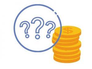 disegno di monete e punto interrogativo