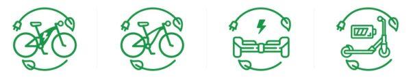 disegno di biciclette e veicoli elettrici
